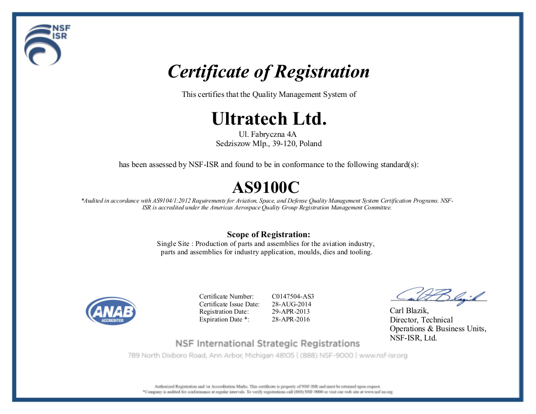As9100 Certificate Ultratech
